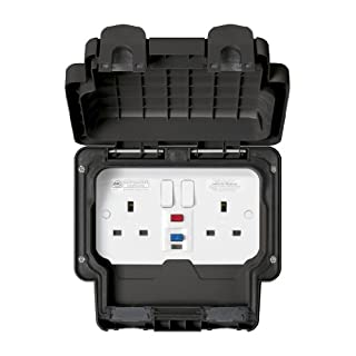 MK Masterseal Plus K56231BLK 13 amp 2-Gang RCD Protected Socket (Active)