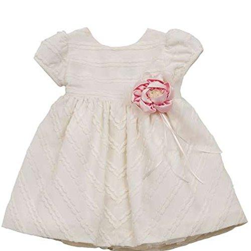 Rare Editions Baby Mädchen Kleid Taufe Hochzeit Festliche Anlässe Creme Weiß mit Rosa Blume (62) (Editions Kleider Rare Baby)