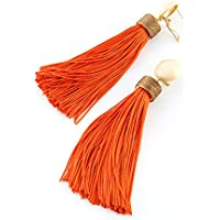 Orecchini a gocia donna Frangia seta nappa orenchini abbinatea cappuccio di chiusura stile boho. Chiusura omega etnica, seta vintage,fatto a mano.Marrone- arancione.
