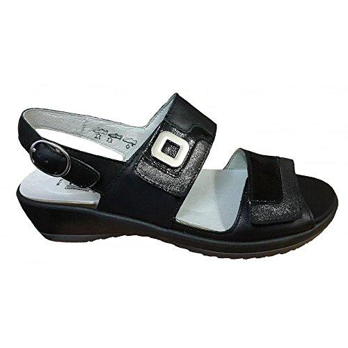 Waldlaufer Damen Ginger Memphis doppeltem Klettverschluss Sandale, Schwarz - schwarz - Größe: 39 2/3 EU (Ingwer-schwarz Schuhe)