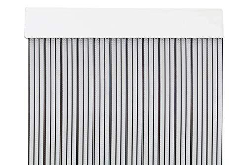 MercuryTextil Cortina para Puerta Tiras PVC 210x90cm,Cortina para Puerta Exterior,16 Color (Transparente+Filo Negro)