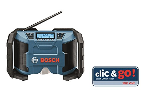 Bosch Professional 0615990GM8 GPB 12 V 10 Radio de chantier, AUX-IN (3, 5 mm, câble inclus), click&go, FM/AM...