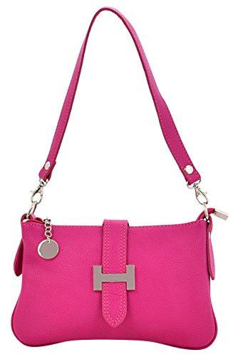 LIA Borsa Tracolla Donna Vera Pelle Cuoio Spalla Mano Moda Made in Italy Rosa