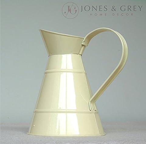 Shabby Chic Vintage creme Metall Krug Vase Krug Blumentopf