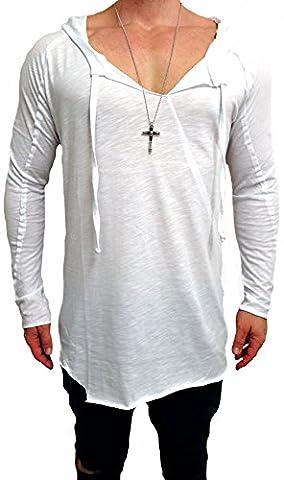 Oversize Kapuzen Longsleeve Shirt langarm basic Deep Longshirt Long shirt