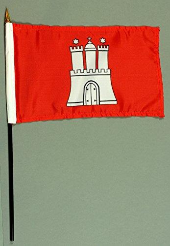 Buddel-Bini Handflagge Tischflagge Hamburg 15x25 cm mit 37 cm Mast aus PVC-Rohr, ohne Ständerfuß