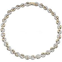 Regalos de Navidad 18 quilates de plata y oro de cristal Swarovski Elementos trigo Oído Gargantilla Collar Partido