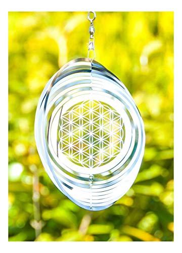 Windspiel Blume des Lebens ø 15 cm aus Edelstahl | Wohn-Dekoration Mobile Lebensblume Spirituelles Symbol | Feng Shui Esoterik Geschenke günstig kaufen