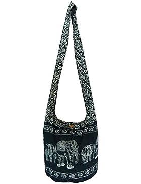 Handgefertigte Hippie-Umhängetasche/Hobo-Tasche/Ethno-Tasche für Frauen, Thai Yam, Elefantenmuster, von mittlerer...