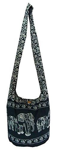 Hippie-Tasche, Geldbörse für Damen - Hippie Medium Thai Yam Ethno Boho mit Elefantenmotiv, von Hand gefertigt, für das Tragen schräg über den Körper Gr. M, Schwarz
