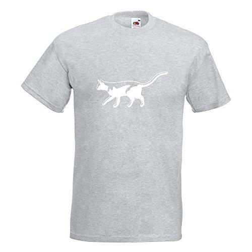 KIWISTAR - Katze laufend Cat T-Shirt in 15 verschiedenen Farben - Herren Funshirt bedruckt Design Sprüche Spruch Motive Oberteil Baumwolle Print Größe S M L XL XXL Graumeliert