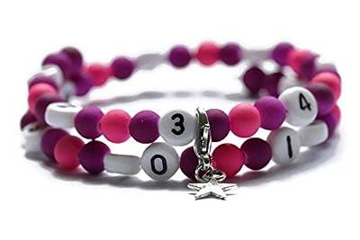 Bracelet d'allaitement de couleur violet et rose en acrylique