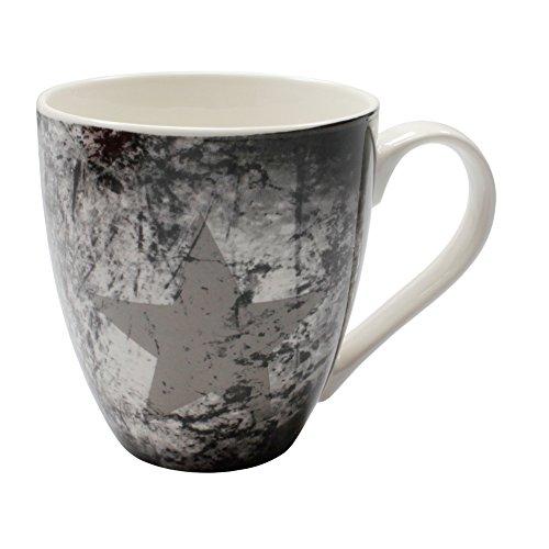 Tasse im Vintage Look Jumbo Kaffeetasse ca. 500 ml Porzellan Becher mit Stern dunkel