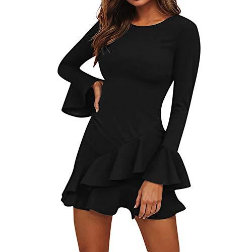 eid Damen,Reizvolle Frauen Swing-Kleid Tief O-Ausschnitt Abendkleid Winter Langarm Kniekleid Laternenhülse Partykleid Herbstkleid Ballkleid ()