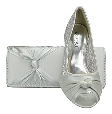 Chic Feet Womens Satin & Lace Prom Wedding Bridal Ladies Peep Toe Low Heel Party Court Shoes With Matching Bag (7/40,