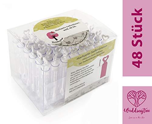 WeddingTree Bolle di Sapone per Matrimonio 48 Flaconcini con Manico a Cuore | Idea Originale per Compleanno, Fidanzamento, San Valentino, Battesimo, Comunione | Wedding Bubbles Colore Bianco