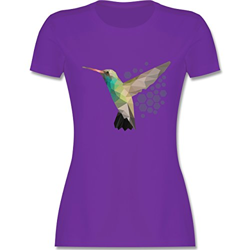 Shirtracer Vögel - Colibri - Damen T-Shirt Rundhals Lila