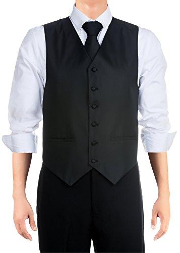 Retreez Cravate Pantalon de gilet texturé tissé à rayures avec nœud papillon, coffret cadeau Noir