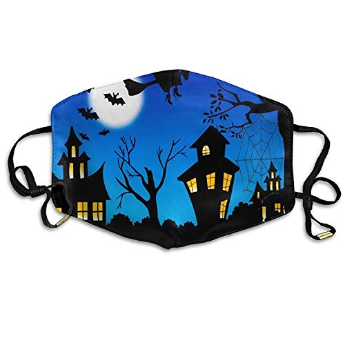 Fashion Outdoor Mouth Mask with Design, Reusable Half Face Mask Anti-dust Mask, Womens Face Mask Anti-Dust Respirator Gift Halloween Night Witch Bat Castle Pumpkin Black Cat On The Tree.jpg (Cat Face Design Halloween Für)