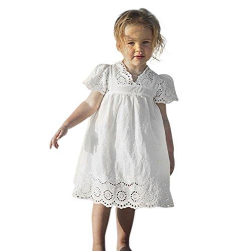 HUIHUI Kleid Mädchen, Toddler Mädchen Kleid Blumendruck Spitze Party Prinzessin Dress Casual T-Shirt Kleid Frühlings Herbst Cocktailkleid ärmellose Sommerkleider (100 (1-2Jahre), Weiß)