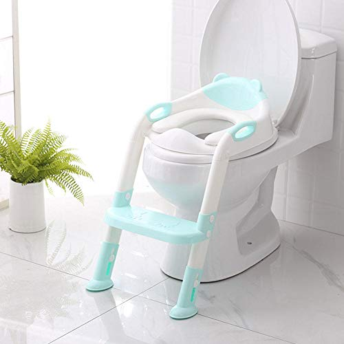 Kinder Toilettensitz Trainer mit Leiter T/öpfchen Sitz f/ür Toiletten 38-42cm T/öpfchen Trainer ECHILUCK Toiletten-Trainer f/ür Kinder von 1-7 Jahren blau//gr/ün