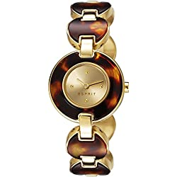 Esprit Lagoon Tortoise Women's Quartz Watch with Gold Dial Analogue Display and Gold Stainless Steel Gold Plated Bracelet ES106572003