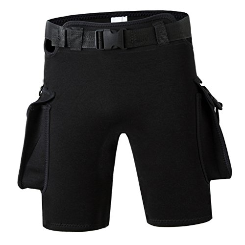 MagiDeal Neopren Pants / Hose Neoprenhosen Wetsuit Shorts mit Tasche Gürtel - Schwarz, S