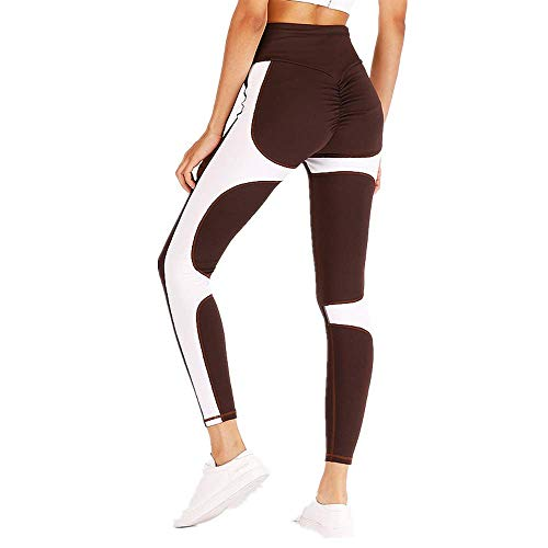 chen Damen Solid Zweifarbig Color Block Patchwork Ruched Butt Dünn Skinny Stretch High Waist Lang Long Sporthose Yoga Hosen (L,Braun & Weiß) ()