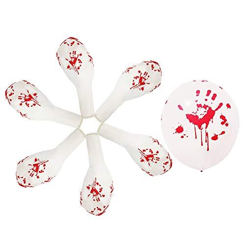 (Moonvvin Luftballons für Halloween, 30,5 cm, natürliches Latex, Kürbisschädel und blutend, handbedruckt, für Halloween, Trick oder Treat, Grusel-Party, Spaß, 50 Stück, weiß, 30,5 cm)