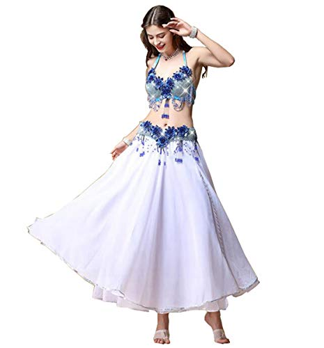 NANXCYR Damen Fairy Belly Dance Rock Kostüm Chiffon Rock Halloween Dance Outfit Eleganter Ballsaal Langes Latin Performance Kleid Bollywood Kleid,Weiß,L (Tanz Kostüm Nach Maß)