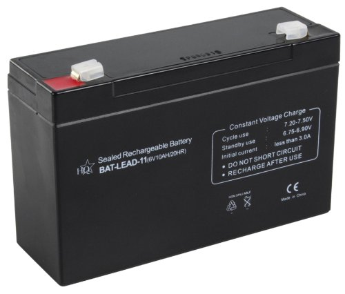 HQ Lead-Acid 6V 10Ah Sealed Lead Acid (VRLA) - Batteries de l'onduleur (Sealed Lead Acid (VRLA), 6 V, 1 pièce(s), Noir, 10000 mAh, 50 mm)