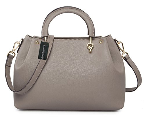 Greeniris Damen Geschäft Handtasche echt Leder Umhängetasche Damen Grau