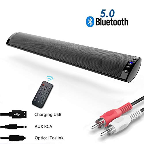PC Soundbar Lautsprecher,5.0 Bluetooth Soundbar PC,Heimkino Stereo Surround Sound mit Bass,Wireless Soundbars für PC/TV/Telefon/Laptop/Tablet, USB/TF Karten Unterstützung, Optical/RCA Kompatibel