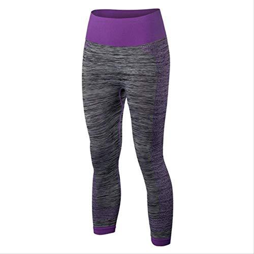 YJKJSK Neue Frauen Fitness Yoga Hosen Stretch Gym Running Cropped Leggings Athletic Sporthose L XD739 Lila Cropped Athletic Hosen