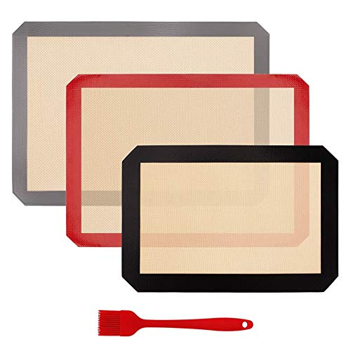 RBH 3 Pezzi Silicone Tappetino da Forno in Silicone Tappetino da Forno Set Antiscivolo Lavabile Riutilizzabile Resistente al Calore Antiaderente Rivestito per Biscotti Macaroon Pasticceria