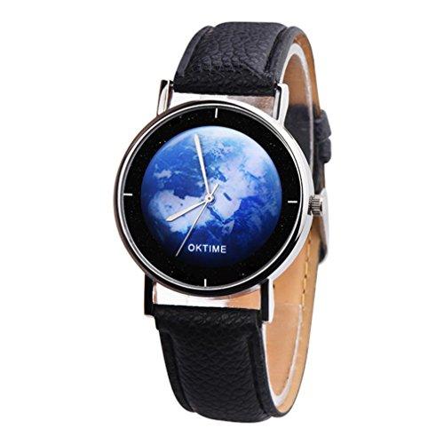 Uhren Dellin Art und Weise beiläufiges Nettes Unisex die Erde-Leder-Band-analoge Legierungs-Quarz-Uhr (Schwarz)
