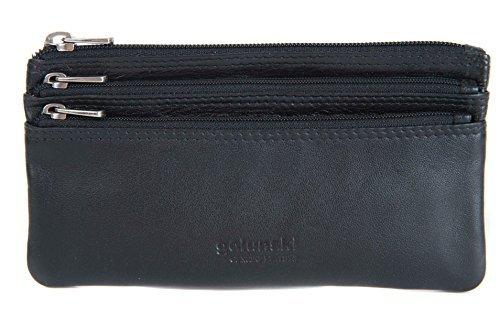 GOLUNSKI Pelle Morbida 3 Sezione Con zip Portamonete 6 COLORI - 0330 - Violablu/Rosa, Large Nero
