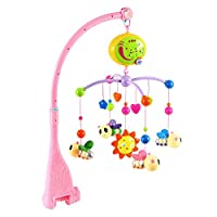 Baby Musical Cot Mobile with Four Portable Little Bee Mobile One Small Sun Adjustable Volume Music Player Fixed Bracket Colorful Electric Rotating Music Toy for Newborn Infant Toddler (Pink)
