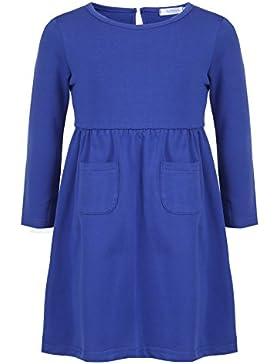 CHIGANT Mädchen Langarm T-shirt Kleid Skaterkleid Einfarbige Kleid mit Rundhals