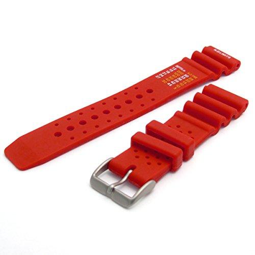 WatchWatchWatch Herren PU Taucher-uhrenarmband mit ND Limits 22mm rot C038