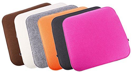 Filz Sitzkissen 2 farbig zum Wenden, waschbare Stuhlauflage mit Füllung inkl. Reissverschluss. Moderne Sitzauflage für Bank und Stuhl mit runden Ecken, weich gepolstert. Designer Sitzpolster / Filzauflage, quadratisch ca. 35x35cm groß