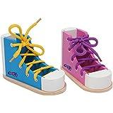 Small Foot by Legler Fädelschuhe für Kinder, 2er Set in farbenfroher Gestaltung, inkl. passener Schnürsenkel,schult Geduld und Fingerfertigkeit