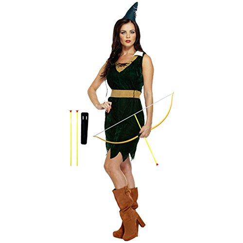 üm Jägerin Größe 38/40 und Pfeil- und Bogenset Jäger Frau Damenkostüm Robin Hood ()