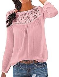 Bluelucon Damen Spitze Bluse, Frauen Langarmshirt Oberteile T-Shirt Lose  Chiffon Langarm Sommerbluse Große Größe… 69e6eed3c4