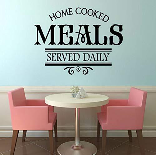 Dalxsh Hausgemachte Mahlzeiten Serviert Täglich Restaurant Wandaufkleber PVC Kunststoff AbnehmbareWohnkulturDIY Küche EsszimmerAufkleber 57x44 ()