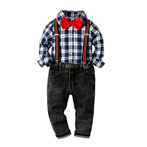 (ALISIAM Winter Weihnachten Kind Junge Mode Freizeit Gemütlich Mit Fliege Kariertes Hemd Und Jeans tragen Gentleman Kleid Kinderkleidung)