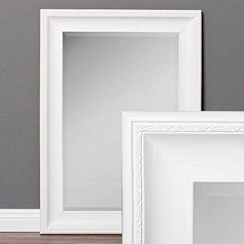 LEBENSwohnART Wandspiegel COPIA 70x50cm Pur-Weiß Spiegel Barock Holzrahmen Facette