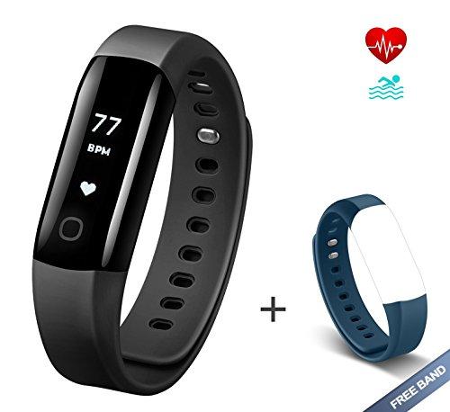 Arbily Fitness Tracker Vigorun4.0 Herzfrequenz mit IP68 Wasserdicht Fitness Armband Aktivität Tracker Smart Armband mit Alarm/Schritt Tracker/Kalorienzähler/Schlaf Monitor BLAU Strap ist ein Geschenk (schwarz)