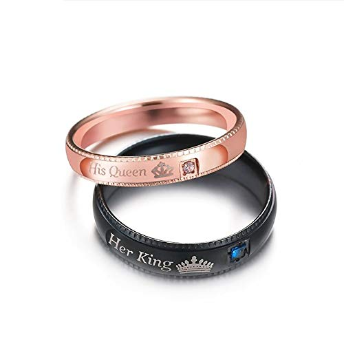 ZHOUYF RING Verlobungsringe  Promise Couple Rings Her King & His Queen Crown Charm Letter Ring for Women Men Anel Masculino,Black,10#