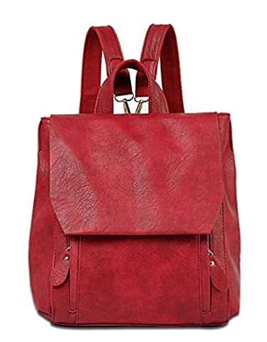 Fansela(TM) Womens Versatile Casual Fashion PU Leather Backpack for School and Travel (Red)